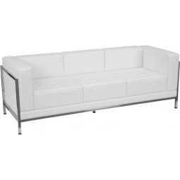 Signature Imagination Series Contemporary White Leather Sofa with Encasing Frame