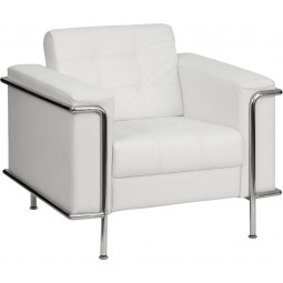 Signature Lesley Series Contemporary Leather Chair with Encasing Frame - White