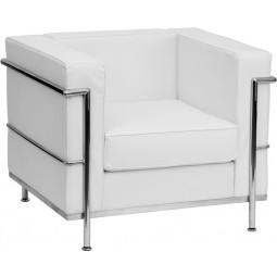 Signature Regal Series Contemporary Leather Chair with Encasing Frame - White