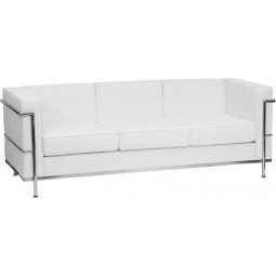Signature Regal Series Contemporary Leather Sofa with Encasing Frame - White