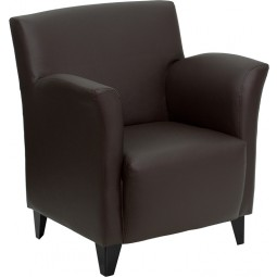 Signature Roman Series Leather Reception Chair - Brown