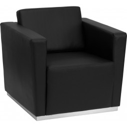 Signature Trinity Series Contemporary Black Leather Chair with Stainless Steel Base