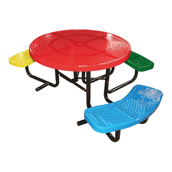 46 round perforated metal children 39 s ada table for Leisure craft picnic tables