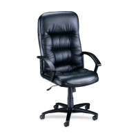 "Lorell Executive Highback Chair, 25¾"" x 29¾"" x 45½"" to 49"",Black Leather"