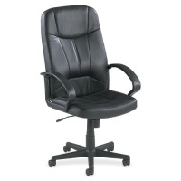 Lorell Executive High-Back Chair, Black Leather