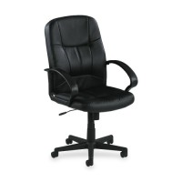 Lorell Managerial Mid-Back Chair, Black Leather