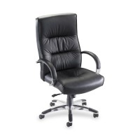 Lorell Bridgemill Executive High-Back Chair, Black Leather