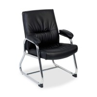 Lorell Bridgemill Guest Chair, Black Leather