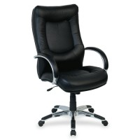 "Lorell Executive. Highback Chair, 26½"" x 28¼"" x 44½"" to 48"", Black Leather"