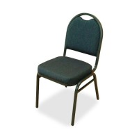 "Lorell Stack Chairs, 18"" x 22"" x 35½"", 4/Carton, Blue/Black Fabric/Charcoal Frame"
