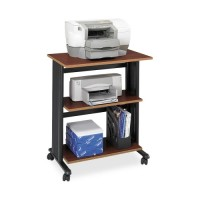 "Safco Printer Stand, Mobile, 3 Level, 29½"" x 20"" x 35"", Black/Cherry"