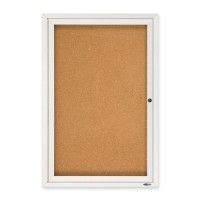 Quartet Cork Board with Glass Door, 1 Door, 2' x 3', Aluminum Frame