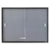 Quartet Indoor Bulletin Board, 2 Sliding Glass Door, 4' x 3', Graphite Frame