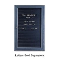 Quartet Enclosed Magnetic Message Board,1 Door, 2' x 3', Black Interior