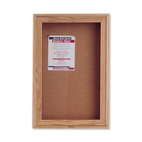 Quartet Cork Board, 1 Door, 2' x 3', Oak Frame