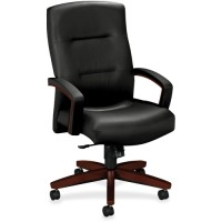 "HON Park Avenue Collection Executive High-Back Chair, 26"" x 29"" x 44½"", Mahogany/Black Leather"