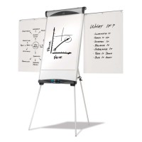 "Quartet Magnetic Dry Erase Easel, Tripod, Adjustable Height, 73""H, Silver"