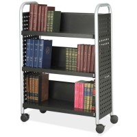 "Safco Scoot Single Sided Cart, with 3 Shelves, 33"" x 14¼"" x 44¼"", Black/Silver"