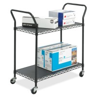 "Safco 2 Shelf Utility Cart, Wire, 43¾"" x 19¼"" x 40½"", Black"