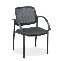 Lorell Guest Chairs, Black Faux Leather Seat
