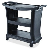 "Rubbermaid Executive Cart, 3 Shelves, 38⅞"" x 20⅜"" x 32"", Black"