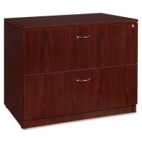 Lorell Essentials Lateral File, Anti-Tip, Mahogany