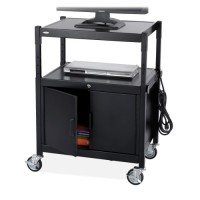 "Safco AV Cart with Cabinet, Adjustable, 26¾"" x 20½"" x 26"" to 42"", Steel/Black"