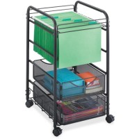 "Safco Onyx Mesh Open File Cart, with 2 Drawers, 15¾"" x 17"" x 27"", Black"