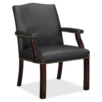 Lorell Leather Guest Chair, Nailhead Trim, Black