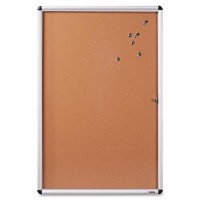 Lorell Enclosed Bulletin Boards, Cork, Natural/Aluminum Frame - Multiple options