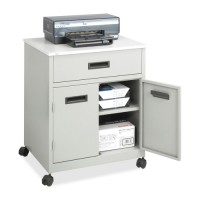 "Safco Machine Stand, with Drawer, Steel, Mobile, 25"" x 20"" x 29¾"", Gray"