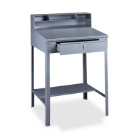 "Tennsco Open Style Foreman's Desk, Drawer, 34½"" x 29"" x 53"", Medium Gray"