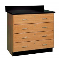 Solid Oak or Maple Cabinet w/4 Locking Drawers, Top and Base Molding NOT Included