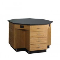 "Solid Oak Octagon Workstation, 16 Locking Drawers, 62""W - 2 Top Types"