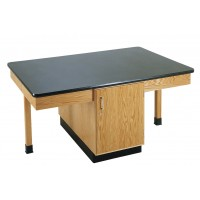 "Solid Oak Wood 4 Station Table with Plain Apron and Cabinet, 66"" W - 3 Top Types"