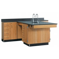 "Solid Oak Perimeter Station with Sink, Door and 4 Drawer, 90""W - 2 Top Types"