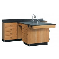 """Solid Oak Wood Perimeter Station with Sink, 4 Drawer, 90""""W - 2 Top Types"""