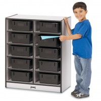Jonti-Craft Rainbow Accents 10 Tub Mobile Storage - With or Without Tubs in Multiple Colors