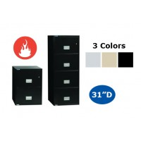 "Phoenix Safe Usa 31""D Vertical Fire File with Key Lock - Letter or Legal - Select Size & Color"