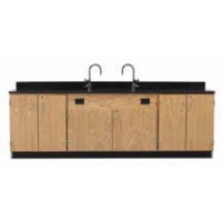 "Solid Oak Wood Wall Service Bench with Door Cabinet, Sink, 108""W - 2 Top Types"