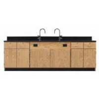 "Solid Oak Wood Wall Service Bench with Door/Drawer Cabinet, Sink, 108""W - 2 Top Types"