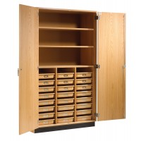 "Oak Wood Tote Tray and Shelving Storage Cabinet, 48""W x 84""H x 22""D, 2 Adjustable and One Fixed Shelves"