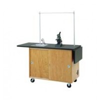 "UV Finish Solid Oak Wood Mobile Science Laboratory Unit, with Sink, Laminate Top, 48""W x 36""H x 24""D"