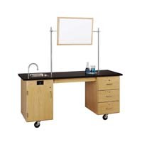 "UV Finish Solid Oak Wood ADA Compatible Mobile Lab Station with ChemGuard Top, 72""W x 33""H x 27""D"