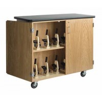 """Solid Oak Wood Mobile Microscope Storage Cabinet with Plastic Laminate Top, 500lbs Capacity, 48""""W x 40""""H x 24""""D"""