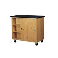 "Solid Oak Wood Mobile Balance Storage Cabinet with Swivel Casters and Plastic Laminate Top, 48""W x 40""H x 24""D"