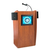 Oklahoma Sound Vision Lectern with Sound and Screen - Cherry - Includes 2 Mics