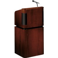 Oklahoma Sound Tabletop & Base Combo Sound Lectern - Mahogany on Walnut - Includes 2 Mics