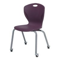 Artcobell Discover D100 Series Four Leg Stacking Chairs with Casters - Various Colors and Sizes
