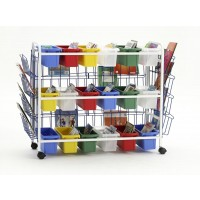 Deluxe Book Browser Cart with Book Displays & 18 Small Tubs - Copernicus BB005-18-1
